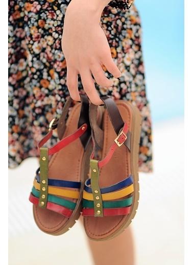 Pembe Potin A307-20 Kadın sandalet Renkli